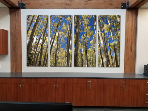 """Golden Aspen Meadow"" Custom 4-Piece Fine Art Canvas Wall Display"