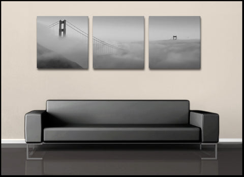 """Above the Clouds"" San Francisco Triptych Black & White 3-Piece Canvas Set"