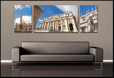 """Basilica San Pietro"" Vatican City 3-Piece Fine Art Canvas Set"