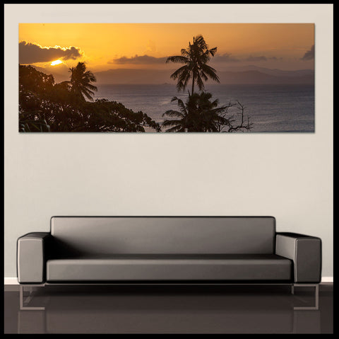 """Island Sunset"" Fiji Islands Panoramic Fine Art Gallery Wrapped Canvas Print"