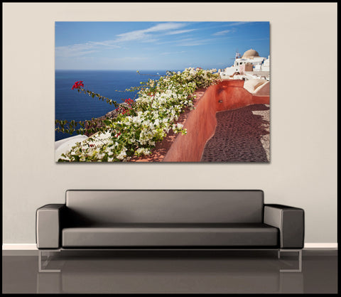 """Colorful Coastal Path"" Greek Islands Fine Art Gallery Wrapped Canvas Print"