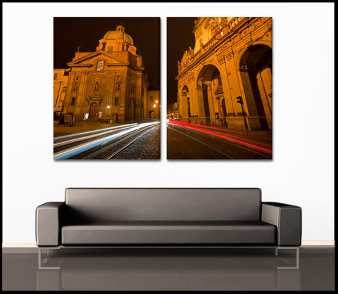 """The Streets of Prague"" 2-Piece Fine Art Canvas Wall Display"