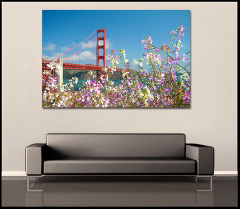 """Golden Gate Flowers"" San Francisco Fine Art Gallery Wrapped Canvas Print"