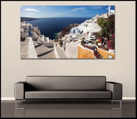 """Oceanside Paradise"" Greek Islands Fine Art Gallery Wrapped Canvas Print"