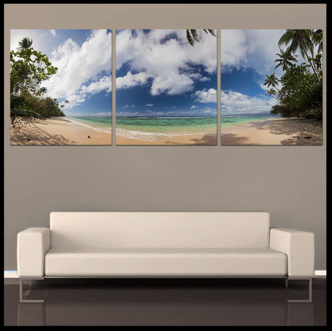 """Qamea Beach Panoramic"" Fiji Islands Triptych 3-Piece Epic Fine Art Tropical Canvas Wall Display"