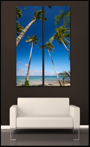 """Palms of Paradise"" Fiji Islands 2-Piece Vertical Panoramic Fine Art Gallery Wrapped Canvas Set"