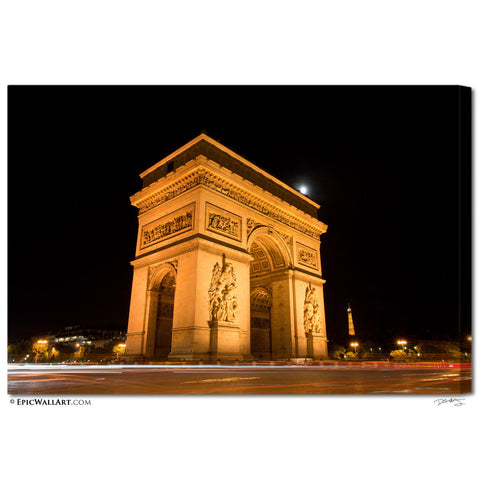 """Moonlight Over Paris"" Arc du Triomphe Fine Art Gallery Wrapped Canvas Print"