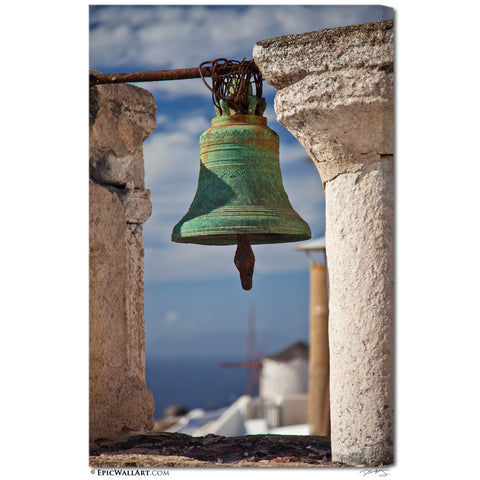 """Bell of Oia"" Santorini Fine Art Gallery Wrapped Canvas Print"