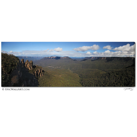 """Blue Mountains Panoramic"" Australia Fine Art Gallery Wrapped Canvas Print"