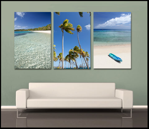 """The Blue Lagoon"" Fiji Islands Custom 3-Piece Fine Art Canvas Wall Display"