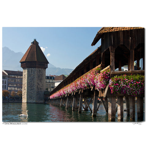 """Chapel Bridge"" Switzerland Fine Art Gallery Wrapped Canvas Print"