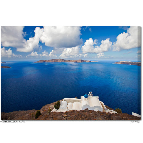 """Coastal Church"" Greek Islands Fine Art Gallery Wrapped Canvas Print"