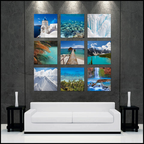 """World of Blue"" Epic 9-Piece Fine Art Gallery Wrapped Canvas Wall Display"