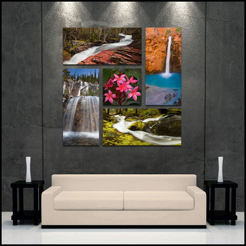 """Falls of Color"" 5-Piece Epic Gallery Wrapped Canvas Set David Huting"