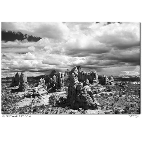 """The Garden of Eden"" Black & White Arches Fine Art Gallery Wrapped Canvas Print"