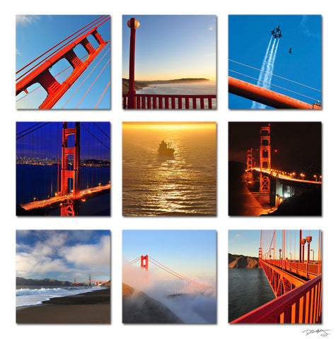 """Golden Gate"" San Francisco 9-Piece Fine Art Gallery Wrapped Canvas Set"
