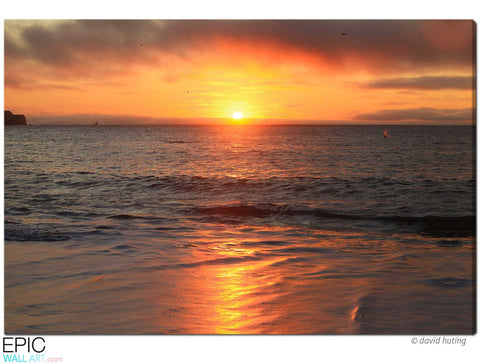 """Golden Ocean Sunset"" San Francisco Fine Art Gallery Wrapped Canvas Print"