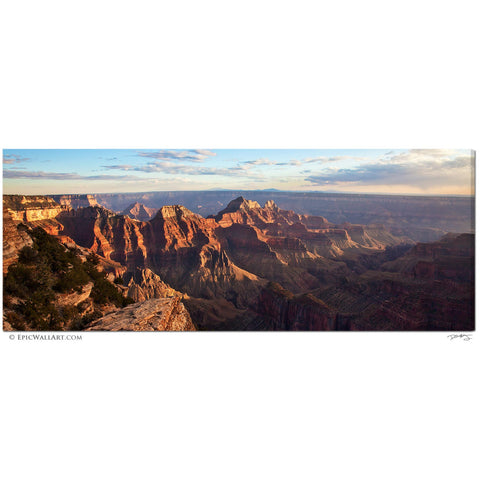 """Grand Canyon Sunset"" Panoramic Fine Art Gallery Wrapped Canvas Print"