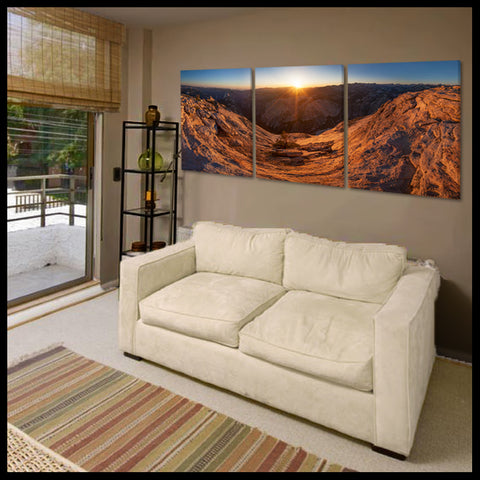 """Sunset on Cloud's Rest"" Yosemite Half Dome Triptych 3-Piece Epic Fine Art Canvas Wall Display"