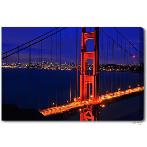 """Golden Gate Glow "" San Francisco Fine Art Gallery Wrapped Canvas Print"