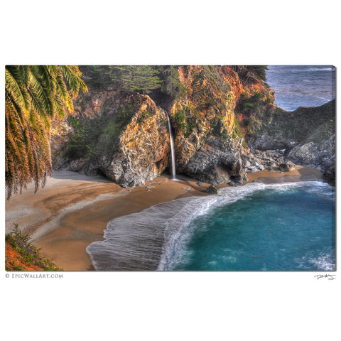 """McWay Falls Flowing"" Big Sur  Fine Art Gallery Wrapped Canvas Print"