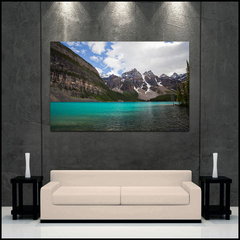 """Moraine Lakeshore Sunlight"" Canadian Rockies Fine Art Gallery Wrapped Canvas Print"