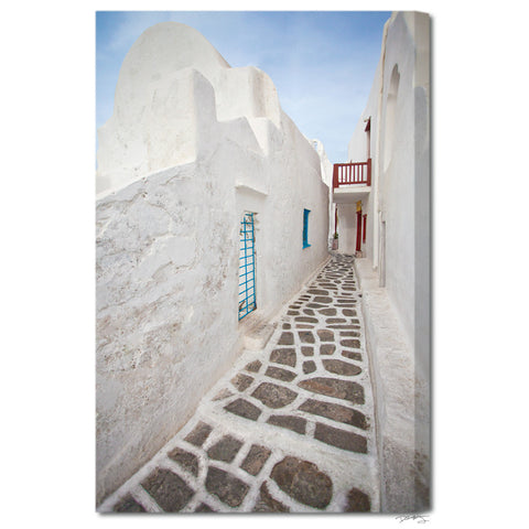 """Mykonos Streets"" Greek Islands Fine Art Gallery Wrapped Canvas Print"