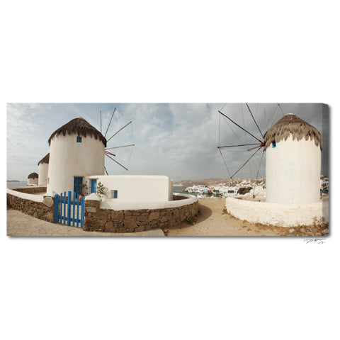 """Mykonos Windmills"" Panoramic Greece Fine Art Gallery Wrapped Canvas Print"
