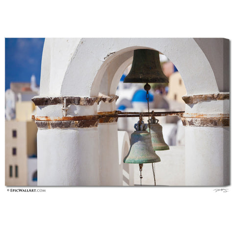 """Greece Village Bells"" Santorini Fine Art Gallery Wrapped Canvas Print"