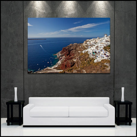 """Oia Village Harbor"" Greek Islands Fine Art Gallery Wrapped Canvas Print"