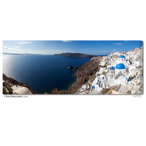 """Santorini Coastline"" Panoramic Greece Fine Art Gallery Wrapped Canvas Print"