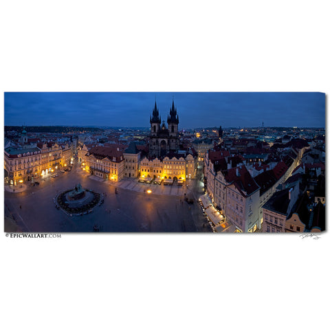 """Old Town Square"" Prague Panoramic Islands Fine Art Gallery Wrapped Canvas Print"