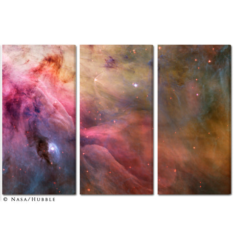 """Orion Nebula"" Celestial 3-Piece Fine Art Canvas Wall Display"