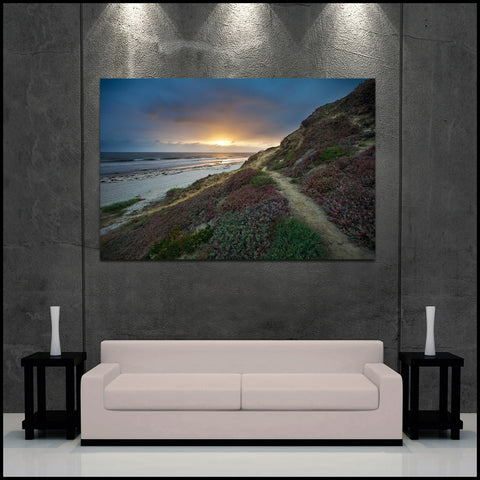 """Pacific Beach Sunset Pathway"" San Diego Fine Art Gallery Wrapped Canvas Print"