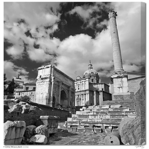 """Roman Ruins"" Square Black & White Fine Art Gallery Wrapped Canvas Print"