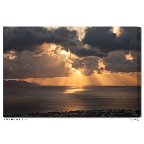 """Santorini Sunrise"" Greece Fine Art Gallery Wrapped Canvas Print"