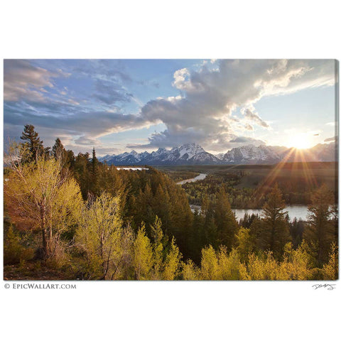 """Snake River Sunset"" Grand Tetons Wyoming Fine Art Gallery Wrapped Canvas Print"
