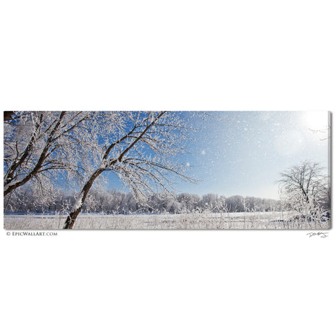 """Snowy River Sunlight"" Panoramic Fine Art Gallery Wrapped Canvas Print"