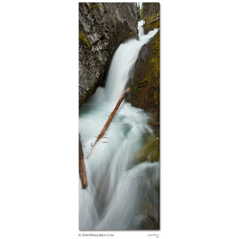 """Sorrail Creek Falls"" Canadian Rockies Vertical Panoramic Fine Art Gallery Wrapped Canvas Print"