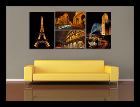 """Icons By Night"" Global Icons 4-Piece Epic Fine Art Canvas Wall Display"