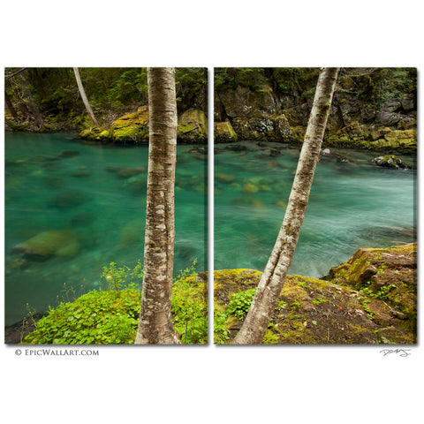 """The Crystal River"" Mt Rainier 2-Piece Fine Art Canvas Wall Display"