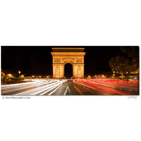 """The Arc"" Paris Panoramic Fine Art Gallery Wrapped Canvas Print"