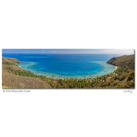 """Tropical Island Lagoon"" Panoramic Fine Art Gallery Wrapped Canvas Print"