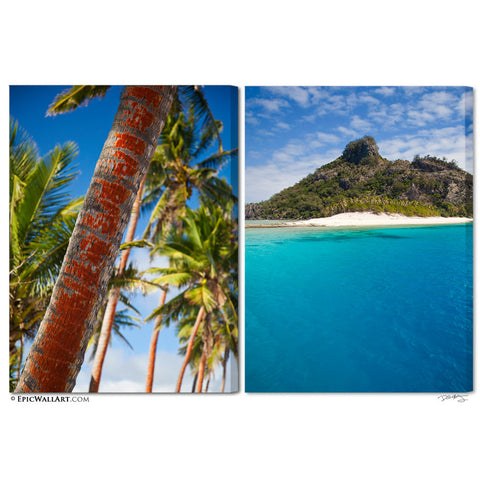 """Tropical Island Paradise"" Fiji 2-Piece Fine Art Gallery Wrapped Canvas Set"