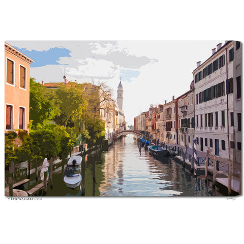 """Venice Canals"" Digital Art Italy Fine Art Gallery Wrapped Canvas"