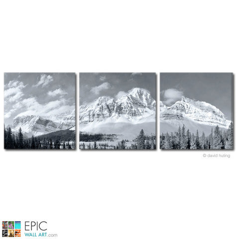 """White Mountain Morning"" Black & White 3-Piece Triptych Fine Art Gallery Wrapped Canvas Set"