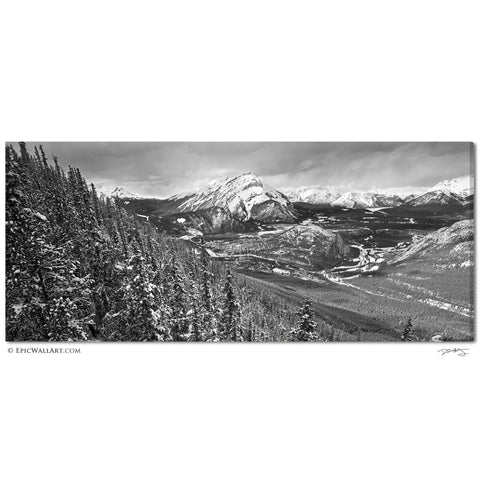 """Snowy Banff""  Panoramic Black & White Fine Art Gallery Wrapped Canvas Print"