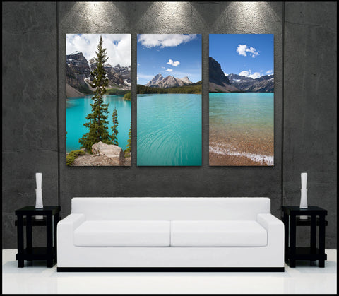 """Alberta Blues"" Canadian Rockies Lakes 3-Piece Fine Art Canvas Wall Display"