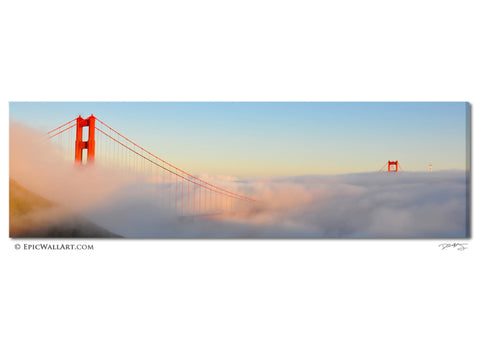 """Above the Glouds"" San Francisco Golden Gate Bridge Fine Art Gallery Wrapped Canvas Print"