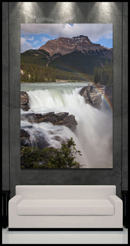 """Athabasca Falls Rainbow"" Canadian Rockies Fine Art Gallery Wrapped Canvas Print"
